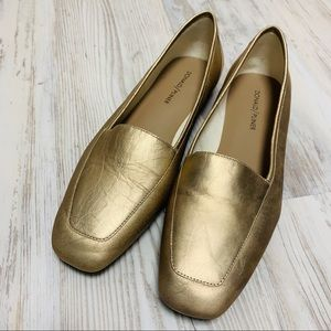NEW Donald J Pliner Gold Metallic Loafers 9M